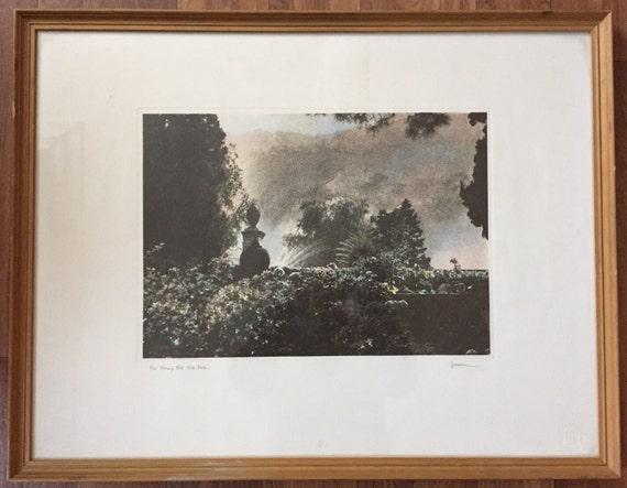 Canadian artist Jennifer Dickson RA, hand coloured mezzo screen print entitled 'Morning Mist, Isola Bella'