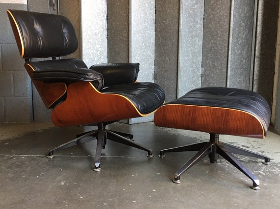 Astonishing Eames Style Lounge Chair And Ottoman In Black Leather Beatyapartments Chair Design Images Beatyapartmentscom