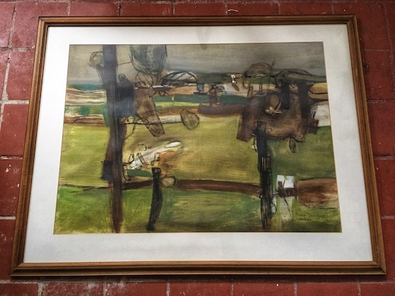 Philip Jones 1933-2008 abstract landscape in gouache signed and dated 1967 in wooden frame