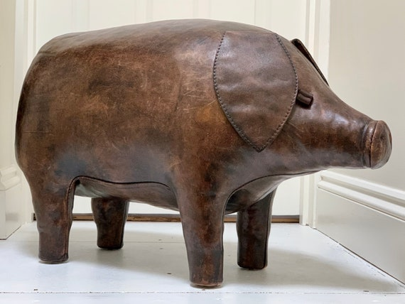 Orginal vintage Dimitri Omersa Leather Pig footstool for Liberty of London