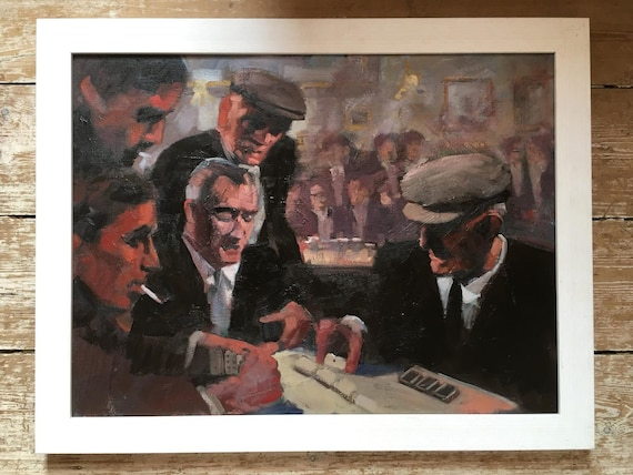 Contemporary Irish oil painting of the domino players