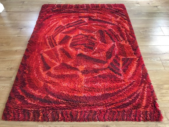 Vintage Swedish ryamatta rug by Marianne Richter called Rosenkalla circa 1970's pure wool