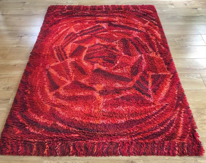Vintage Swedish ryamatta rug by Marianne Richter called Rosenkalla circa 1970's pure wool