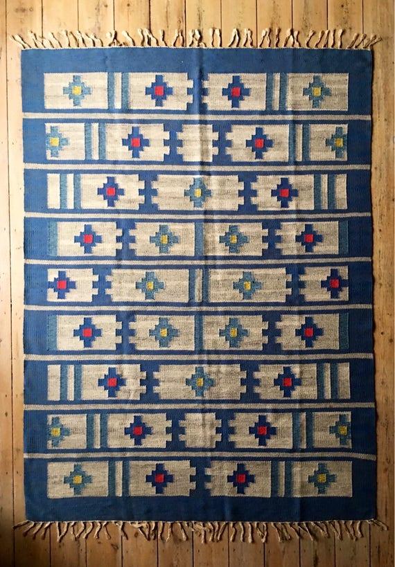 Vintage Swedish wool rolakan rug circa 1950's