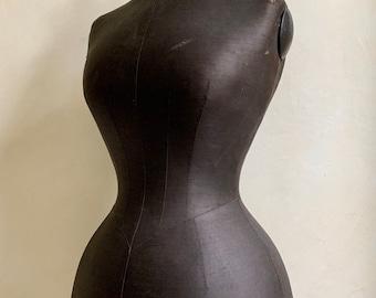 Antique dressmakers wasp waisted dummy on ebonised stand circa 1880