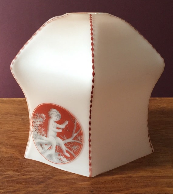 Edwardian white frosted glass lightshade with cherubs putti