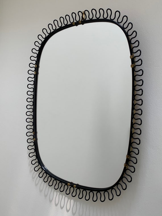 Vintage Swedish Josef Frank for Svenskt Tenn black loop frame mirror