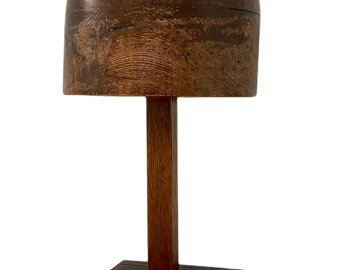 Late Victorian solid wood hat block stand