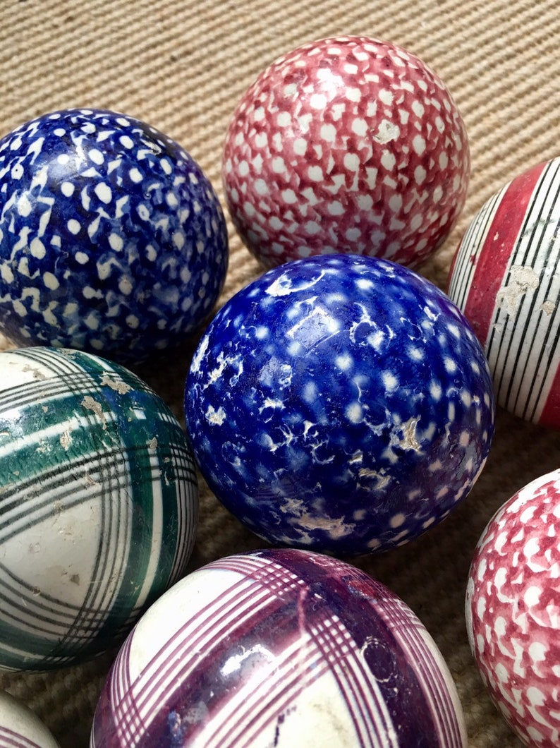 Late 19th century Scottish ceramic carpet bowls
