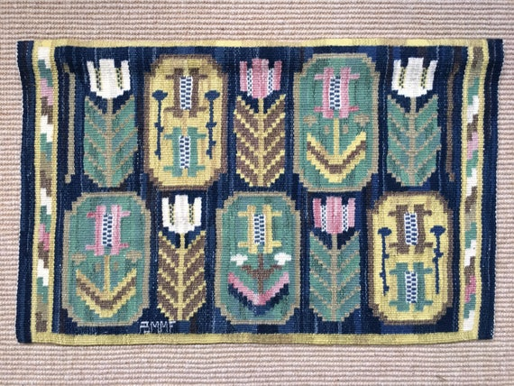 "Antique Swedish wall hanging tapestry by Märta Måås-Fjetterström 1926 and called ""Medaljongerna"", 'Medallions 'Signed AB MMF."