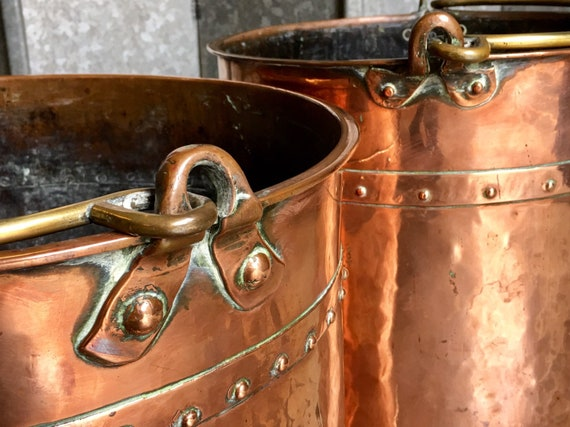 Near pair of mid 19th century riveted copper coal buckets