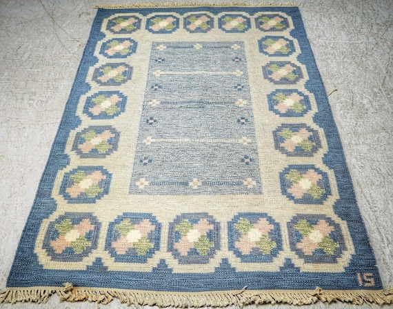 Ingegerd Silow Swedish vintage flat weave rug or rya