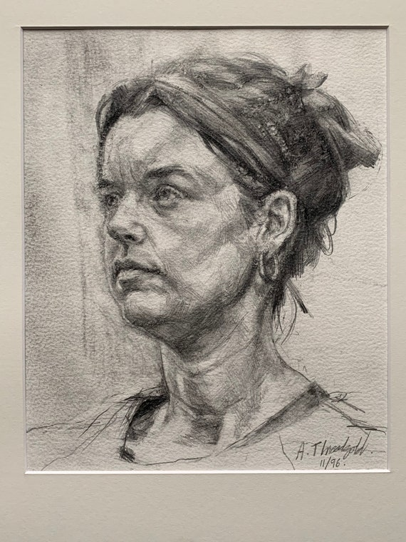 Graphite head study by British artist Tony Threadgold 1972-2011 framed and glazed