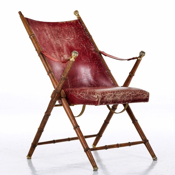 Vintage mid century campaign folding chair in leather by Valenti