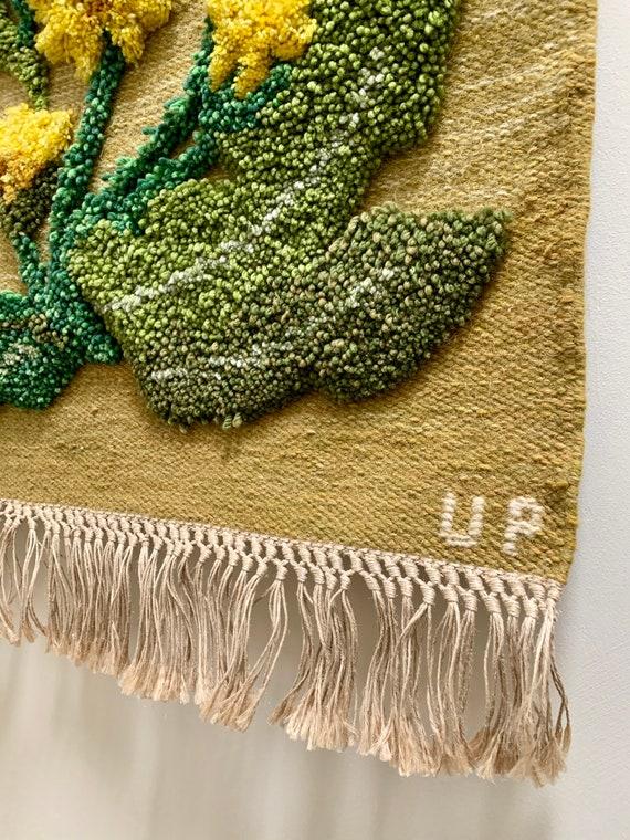 Vintage Swedish wool wallhanging by Ulla Parkdal depicting Dandelions