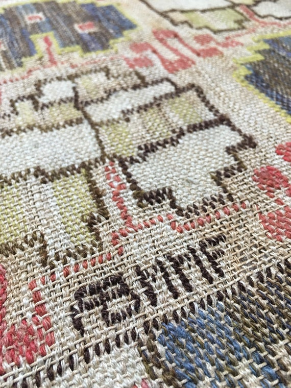 """Tapestry weave in wool and linen on linen warp by Märta Måås-Fjetterström called """"Angle Blade"""", or """"Grodblad"""" in Swedish signed ABMMF."""