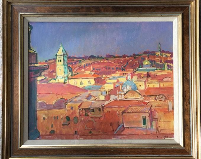 David Graham RP (British b 1926) 'Old city of Jerusalem sunset' oil on canvas