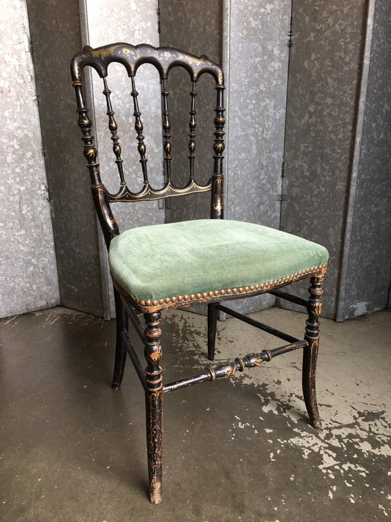 Late 19th century Swedish chinoisserie distressed ebonised boudoir chair with later green velour seat