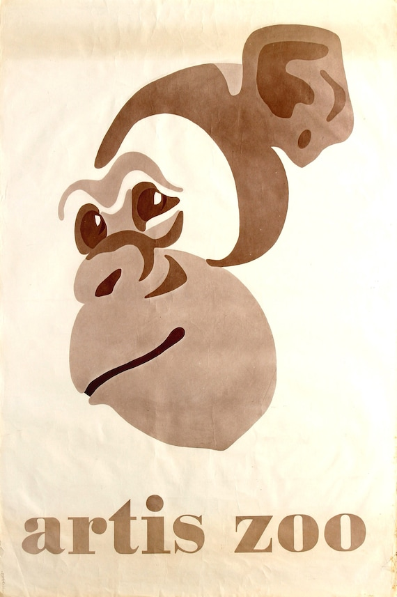 Original vintage advertising poster for the Artis Zoo in Amsterdam circa 1960's pop art style chimpanzee.
