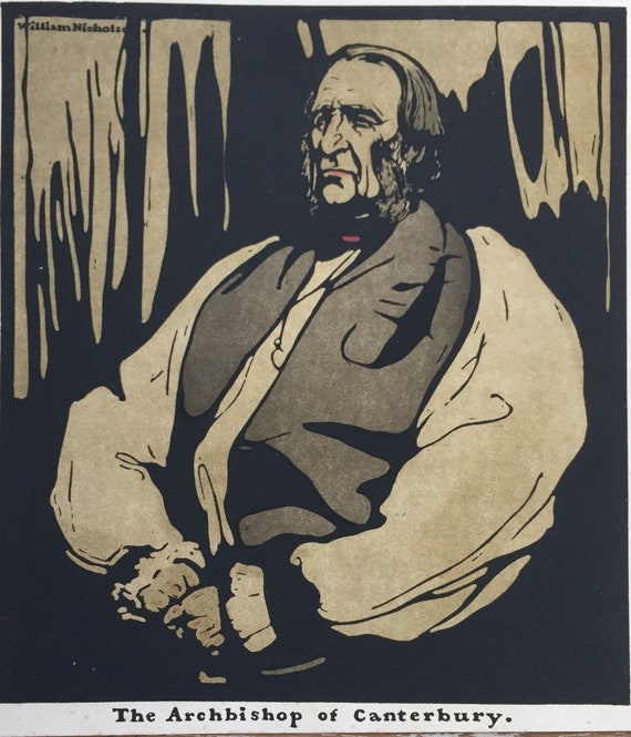 Sir William Nicholson lithograph portrait of Dr Temple, Archbishop of Canterbury 1898