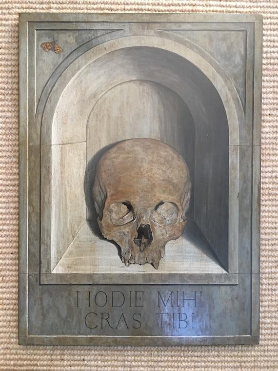 Vintage oil on board of memento mori skull and butterfly 'Hodi mihi cras tibi'
