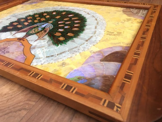 Brazilian Hardwood marquetry tray with butterfly and moth wing inlaid decoration