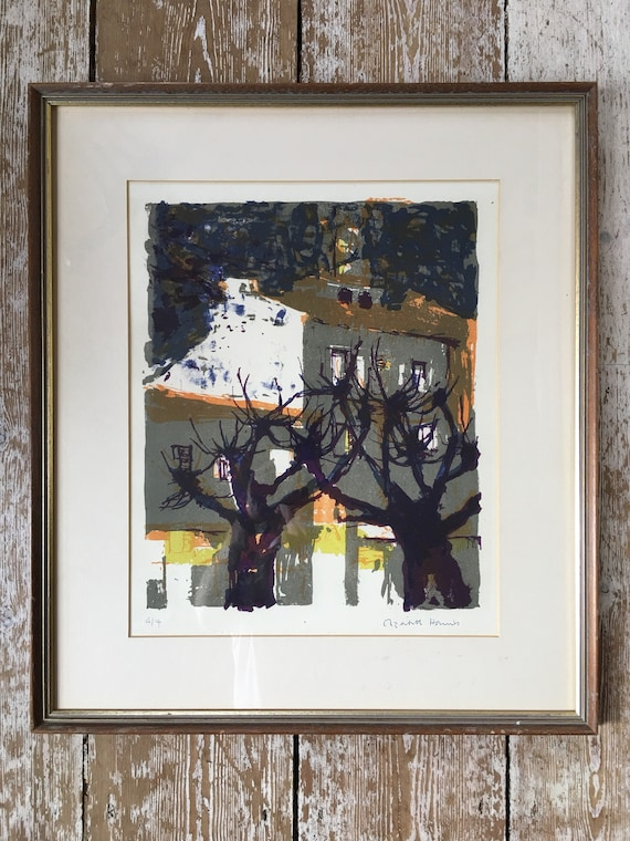 Elizabeth Harris lithograph signed, 4/14, atmospheric houses and trees, image size 37cm x 30cm