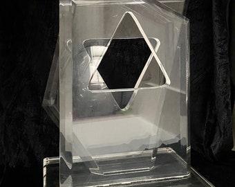 Hollywood regency Modernist Hivo Van Teal lucite perspex abstract form, signed in corner.