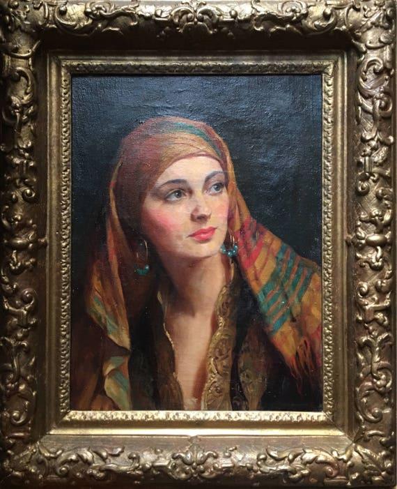 Albert Henry Collings (1868-1947) oil on canvas 'Yasmin in gypsy headscarf' modern British school circa 1920's Salon de Paris