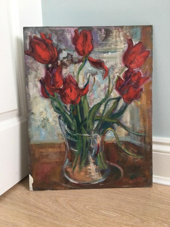 Modern British Slade school still life of Tulips in a vase by Joy Stewart