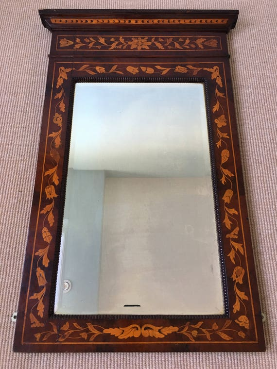 Early 18th century Dutch marquetry Pier mirror with original bevelled glass