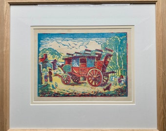 Mabel Allington Royds (1874-1941) woodcut in colour of GWR stagecoach.