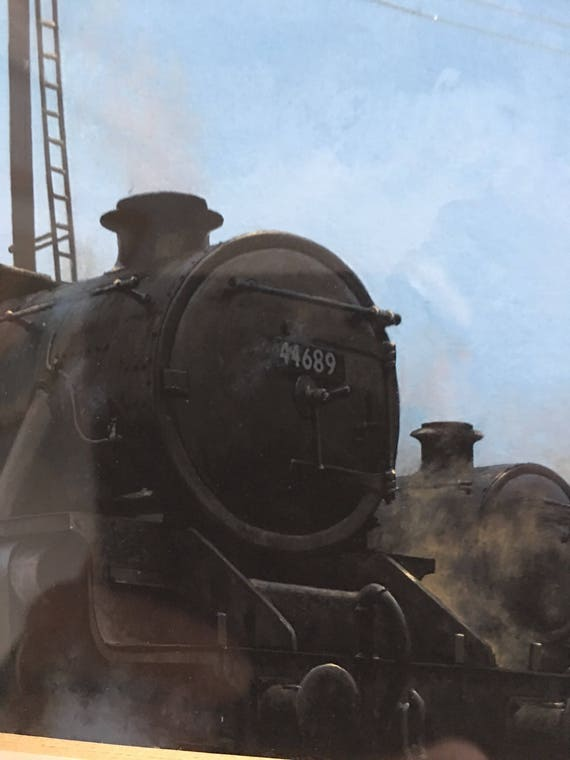 Tom Connell gouache of LMS Stanier class 4-6-0 locomotive 44689 steam train