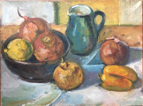 Slade School still life oil on canvas panel with fruit and jug by Joy Stewart circa 1980's