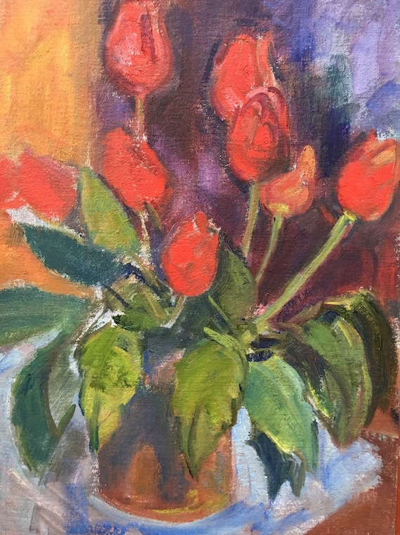 Slade school oil on canvas board red tulips in a vase by Joy Stewart circa 1980's
