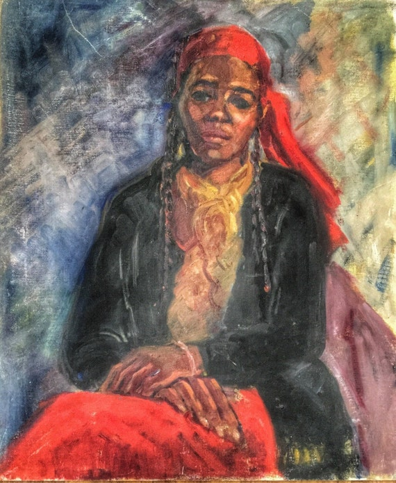 North African Arabic orientalist portrait of a lady with traditional head scarf oil on board by Artist Joy Stewart in the modernist style