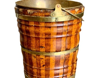Antique Dutch fruitwood coopered peat bucket with liner.