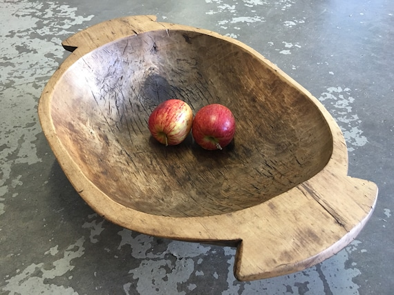 Antique Scandinavian Swedish hand hewn   wooden träskål fruit display bowl circa 1880's
