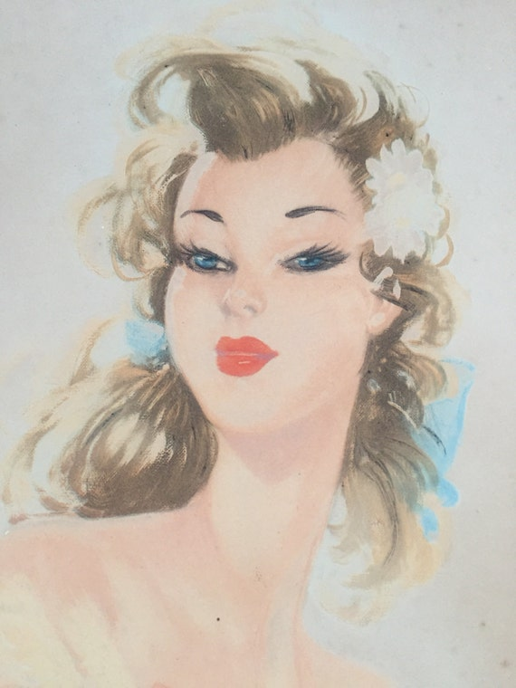 Eugène Antoine Lelièvre (1856-1945) signed in pencil lithograph of pinup girl