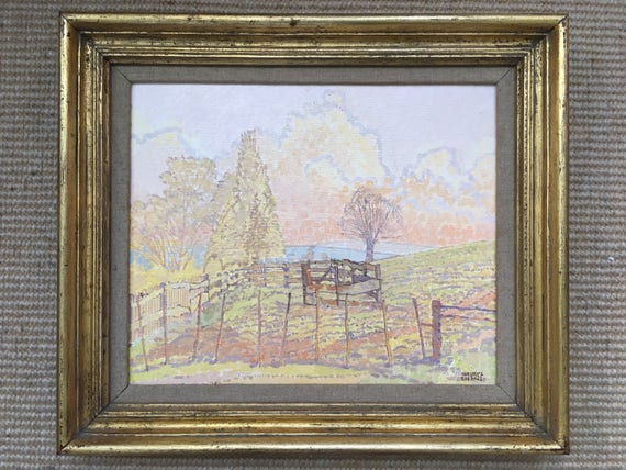 "Maurice Sheppard NEAC PPRWS, British.b1947- ""A Corner of the Field-Valley of (Boulonnais) Denacre"", oil on board, signed, 23.6x28.8cm"