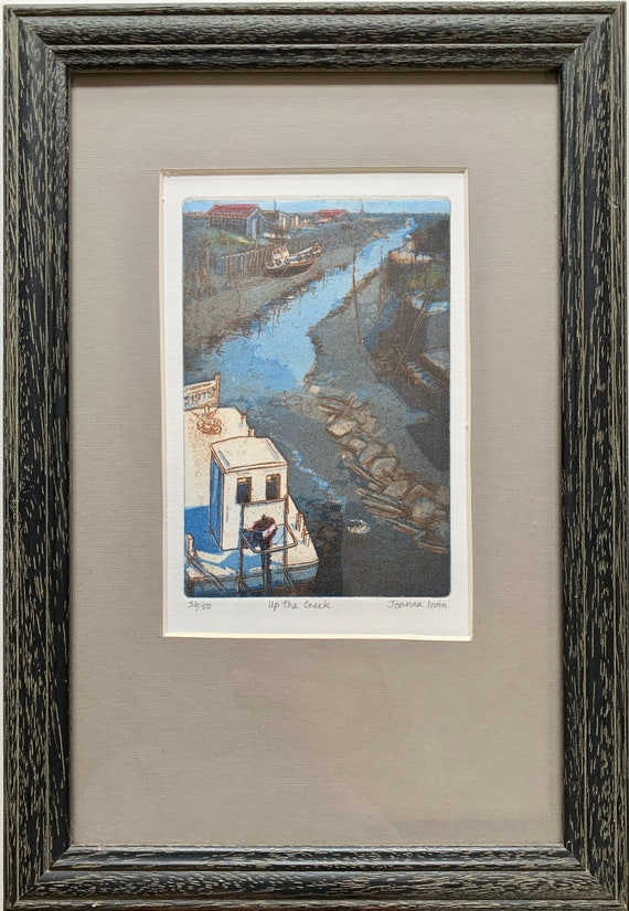Joanna Irvin etching with aquatint Up the creek limited edition 36/50 framed and glazed