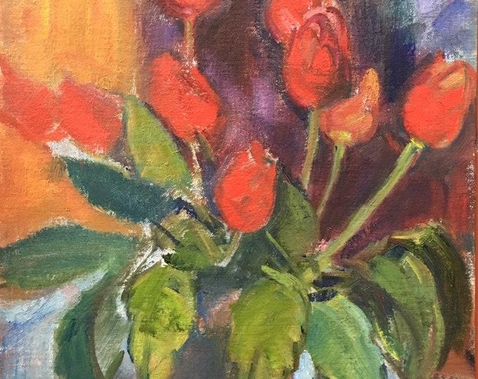 Slade school oil on canvas board red tulips in a vase by Joy Stewart circa 1980's