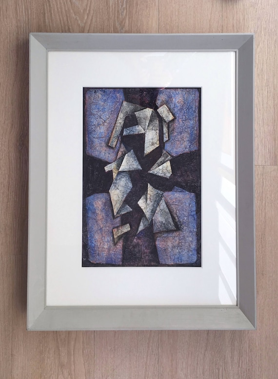 "Francis Bott, German 1904-1998- ""Composition""; mixed media on Japon paper, signed and dated 74 in ink image size 37x26.2cm"