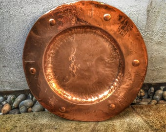 Vintage Arts & Crafts Newlyn Keswick style copper salver with cabouchons