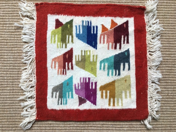Vintage Swedish Flamskvavd handmade wallhanging in wool circa 1980's