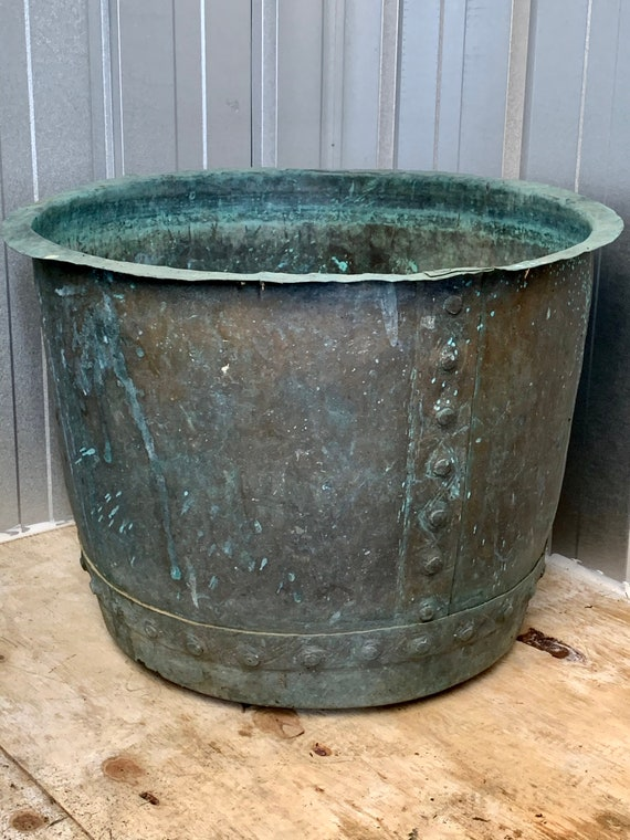 Antique Victorian rivited copper copper verdigris patina planter circa 1880