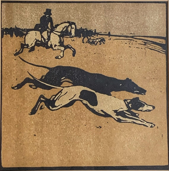 Sir William Nicholson Coursing from an almanac of twelve sports 1898
