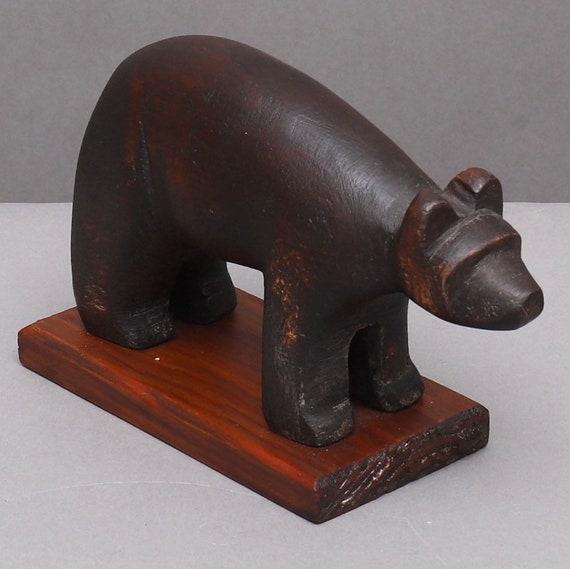 Vintage Swedish folk art wooden carved bear on plinth circa 1930's