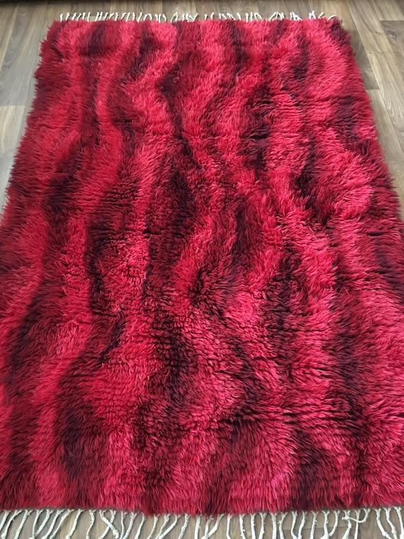 Vintage Swedish ryamatta rug shagpile mid century wool rug