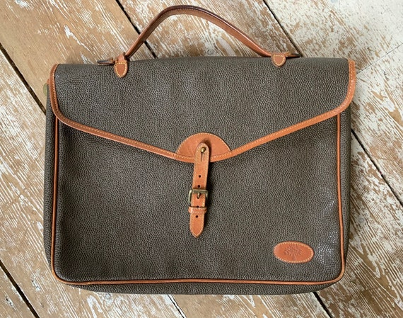 Vintage Mulberry scotchgrain green leather attache briefcase